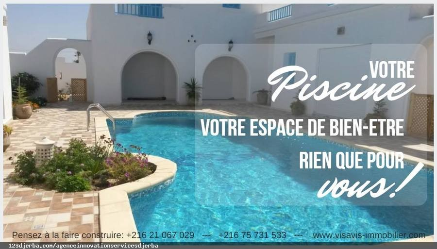Agence innovation services djerba exp rience et for Construction piscine tunisie